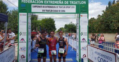 Guillermo Cuchillo y Marta Reguero ganan el Campeonato de Extremadura de Triatlón Sprint celebrado en Coria